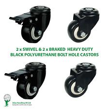 More details for 4 x heavy duty 50mm / 120kg black pu wheel on bolt hole 2 x swivel & 2 x brak...