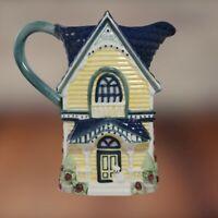 VTG 1998 Cracker Barrel Ceramic Tea Pot pitcher -Victorian House Cottage Collect