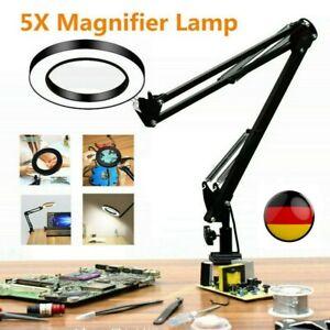 Lupe Lupenleuchte Schreibtischlampe mit Licht und Klemme 5-Fache Vergrößerung DE