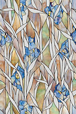 Blue Iris Privacy Stained Glass Static Cling Window Film New 24x36 Floral Decor