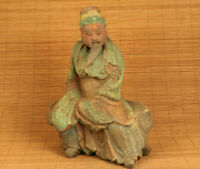 unique chinese big old wood hand carved guangong statue figure collectable deco
