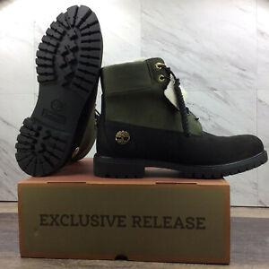 "Timberland 6"" Fleece Lined Waterproof Boots Green Black TB 0A2MJB 001 Mens 11.5"