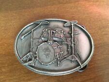 Siskiyou Drum Buckle Drummer Metal Silver Tone 1989 Drum Set Rock n Roll Vintage