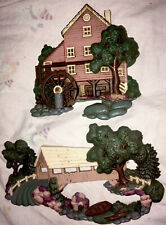 💦Vtg Home Interior Gift Pair Wall Hanging Decor Water Wheel Country Home Bridge
