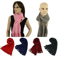 2 Uni-sex Men Ladies School Fleece Thermal Scarves Winter Neck Warmer wt Fringe