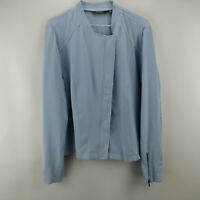 Lisa Rinna Collection Zip Front Textured Bomber Jacket Chambray L A287387