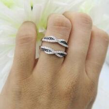 0.75 Ct Black & White Diamond 18K White Gold Over Wedding Enhancer Guard Ring