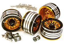 C27035GOLD 2.2x1.5-in. High Mass Wheel(4)w/14mm OffSet Hubs for 1/10 Crawler