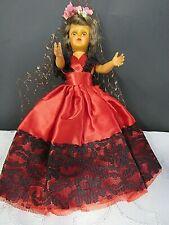 "New ListingVintage 8"" 1950's Spanish Mexican Senorita Doll Red Ethnic Dress Black Lace"