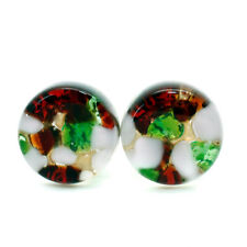 Murano Glass Cufflinks Green Red White Gold Circular Handmade from Venice