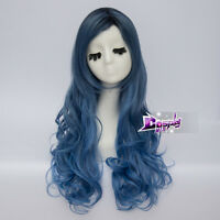 80cm Lolita Long Mixed Blue Women Curly Heat Resistant Cosplay Wig + Free Cap