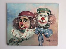 Original Art Oil Painting on Canvas UnFramed Circus Clowns by W Moninet