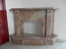 Camino ad angolo in pietra rossa,caminetto realizzato a mano 160x115