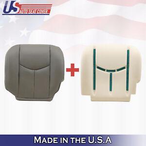 2003 2004 2005 GMC Sierra Driver Bottom Leather Cover Plus Foam Cushion GRAY