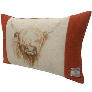 "Harris Tweed Burnt Orange with Highland Cow 50x33cm / 20x13"" Feather Cushion"