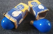 2 Vintage GENERAL ELECTRIC GE 25 Watt Ceramic Coated BLUE LIGHT BULBS in BOX!