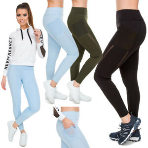 Damen Hohe Taille SPORTS Leggings mit Media Tasche Push-Up Gym-Hosen S-XL HL58