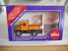 Siku Mercedes Unimog + Road Works Sign in Orange on 1:55 in Box (Siku nr: 2230)