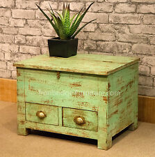 VINTAGE RUSTIC STYLE SOLID WOODEN TRUNK WRITERS STORAGE BOX CHEST PAINTED GREEN