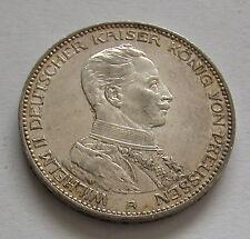 PRUSSIA-SILVER 3 MARK 1914 WILHELM II - 25 YEAR OF REIGN-KM # 535 -GOOD X.F-AUNC