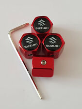 SUZUKI BLACK TOP RED ANTI THEFT DUST VALVE CAPS ALL MODELS RETAIL PACK SWIFT