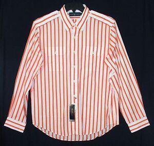 NWT  $98  Men's RALPH LAUREN Long-Sleeve Striped Dress Shirt, Orange, Size LARGE