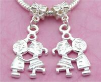 30pcs Silver Tone Plated Lovers Dangle Charms For European Bracelet SY52