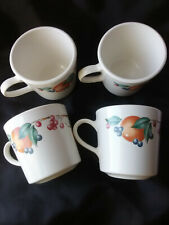 Lot of 4 Vintage Corning Ware  Coffee Tea  Mugs/ Cups Fruits  Print NOS
