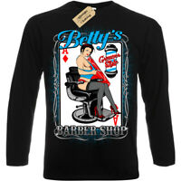 Betty's Rockabilly Greaser Barber Shop T-Shirt sexy pinup Mens Long Sleeve