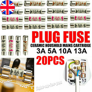 20X Mixed Ceramic 13 AMP Household Domestic Fuses Mains Electric Cartridge Plug