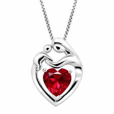 2 1/5 ct Created Ruby Mother & Child Pendant in Sterling Silver