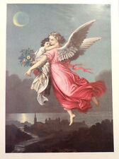"""Victorian Lithograph Print Guardian Angel And Little Girl Picture  5"""" X 7"""""""