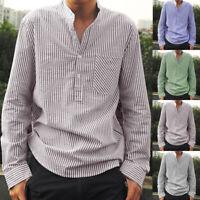 Retro Striped Long Sleeve Shirt Mens Causal Formal T Shirt Summer Holiday Tops