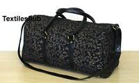 Black Gold Mandala Hippie Cotton Unisex Multipurpose Bag Boho Duffle Bags Indian