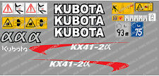 KUBOTA KX41-2A MINI DIGGER COMPLETE DECAL SET WITH SAFETY WARNING SIGNS