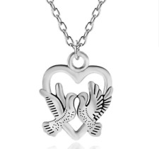 Silver Vintage Dove Charms Hollow Heart Pendant Necklace - Jewellery - UK Seller