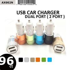 Wholesale Lot 96 Pcs Dual Port / 2 Port 2.1A 10W Accent Usb Car Chargers