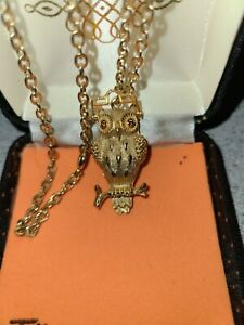 Vintage Tancer II Signed Owl Necklace Glasses Move Up & Down Rhinestone Eyes
