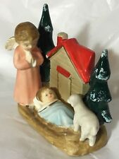 Vintage Ceramic Figurine Jesus Angel Sheep Japan