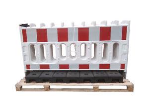 6 x Schrankenzaun aus Kunststoff, Länge 2060 mm, inkl. 7 Füße, Reflexfolie RA1