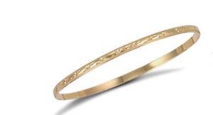 375 9ct Yellow Gold Diamond Cut Slave Bangle - 4.5grams - Fully Hallmarked