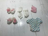 Barbie Doll Lot of 7 - Socks, House Shoes, Mitts, and T-Shirt