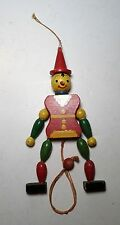 Vintage Wooden Pull String Toy Jumping Jack Clown