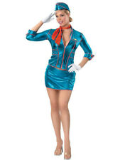 Sexy Stewardess Flight Attendant Mile High Fancy Dress Sexy Adult Costume S 6-10