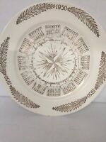 Vintage 1950 Calendar Plate - Cream and Gold - Edwin Knowles China Co.