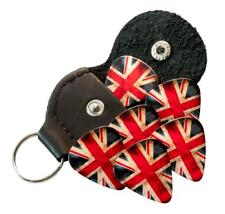 Worn Union Jack 6 Guitar Picks Double Sided With Leather Plectrum Holder Keyring
