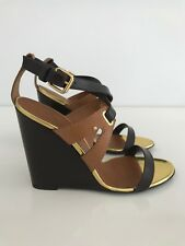 GIUSEPPE ZANOTTI SPECTACULAR GOLD BROWN TAN WEDGE SHOES NEW IN BOX SIZE 8