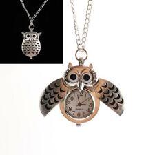 Antique Vintage Owl Quartz Pocket Watch Chain Necklace Unisex Retro Pendant Gift