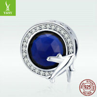 925 Sterling Silver Bead Travel Plane Charm Dark Blue CZ Jewelry For Bracelet