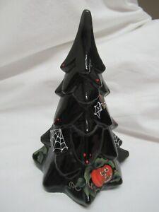 "Fenton Black Hand Painted Halloween Christmas Tree 7 1/4 "" tall pumpkins spider"